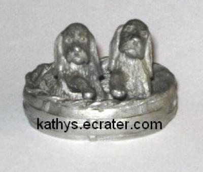 Pewter Miniature 2 Puppies in a Basket Animal Figurine