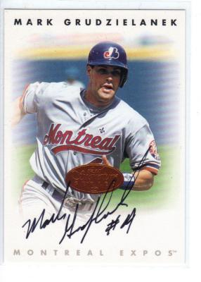 Mark Grudzielanek certified autograph Expos 1996 Leaf Signature card