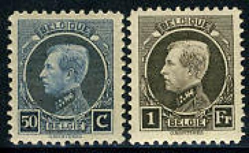 Definitives 2v, King Albert I; Year: 1921