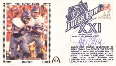 John Elway autographed Denver Broncos Super Bowl 21 cachet envelope