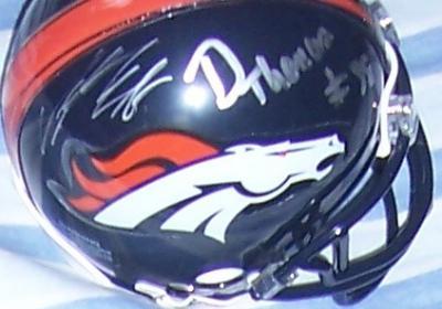 Eric Decker Von Miller Demaryius Thomas autographed 2011 Denver Broncos mini helmet