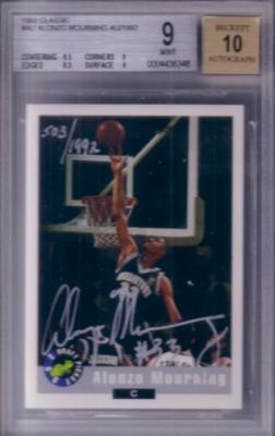 Alonzo Mourning certified autograph Georgetown 1992 Classic card #503/1992 graded BGS 9 MINT