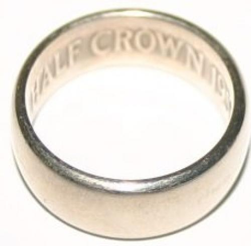 Rare and Unusal Vintage Silver Ring Crafted from 1955 Half Crown Coin