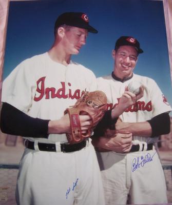 Bob Feller & Herb Score autographed Cleveland Indians 16x20 poster size photo