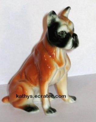 Bone China Dark Faced Boxer Dog Animal Figurine