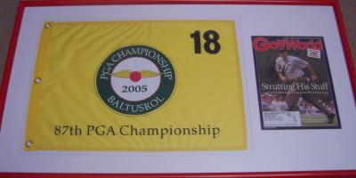Phil Mickelson autographed 2005 PGA Championship Golf World cover framed with pin flag