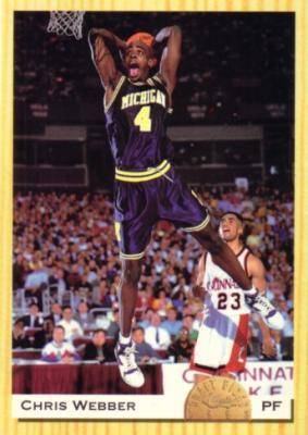 Chris Webber Michigan 1993 Classic jumbo box bottom card