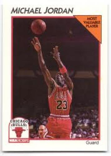 Basketball Card; 1991-92 NBA Hoops #5 basketball card. Michael Jordan of Chicago Bulls