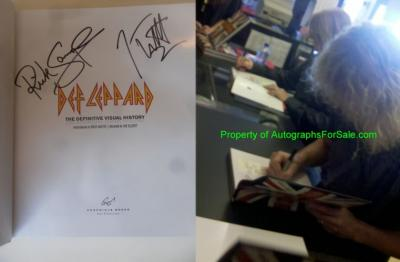 Joe Elliott &amp; Rick Savage autographed Def Leppard Definitive Visual History coffee table book