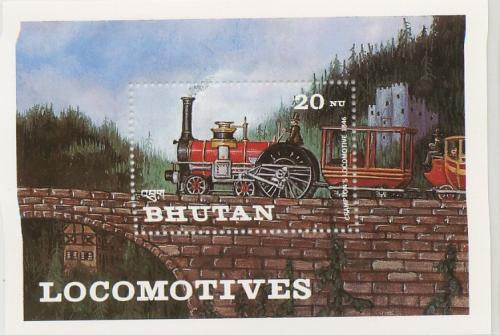 BHUTAN   LOCOMATIVE  SET  OF   MINEATURE   SHEETS