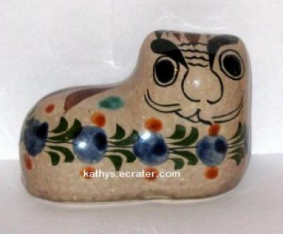Cat Tonala Mexico Handpainted Pottery Cat Animal Figurine