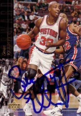 Sean Elliott autographed Detroit Pistons card