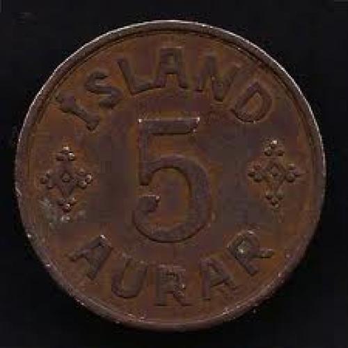 Coins; Iceland 5 Aurar 1942 Coin KM# 7