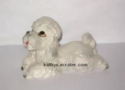 Lefton china H6086 Lying White Poodle Dog Animal Figurine