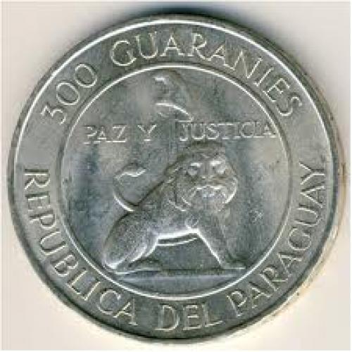 Coins; Paraguay, 300 guaranies, 1968