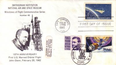 1962 & 1977 John Glenn Project Mercury First Day Cover (dual cancellation)