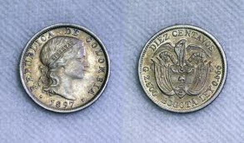 Coins; Columbia 1897 10 Centavos