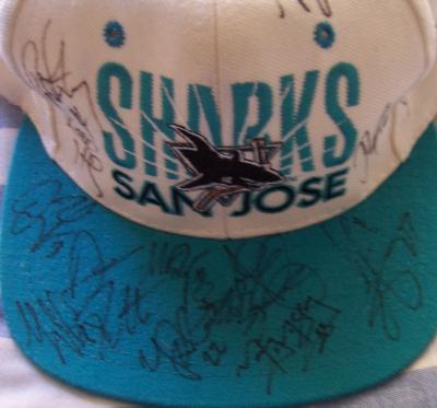 1996-97 San Jose Sharks team autographed cap (Jeff Friesen Ray Whitney)