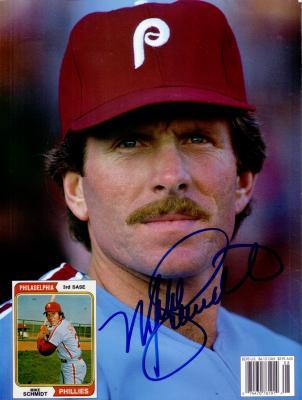Mike Schmidt autographed Philadelphia Phillies Beckett Baseball back cover photo