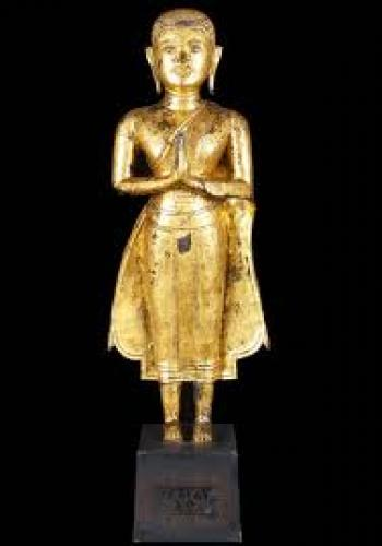 18th Century Antique Gold Plated Standing Buddha