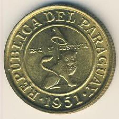 Coins; Paraguay, 50 centimos, 1944–1951
