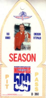 1994 Indianapolis 500 Pit Pass ticket (Emerson Fittipaldi)