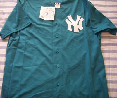 New York Yankees teal jersey by Majestic NEW WITH TAGS