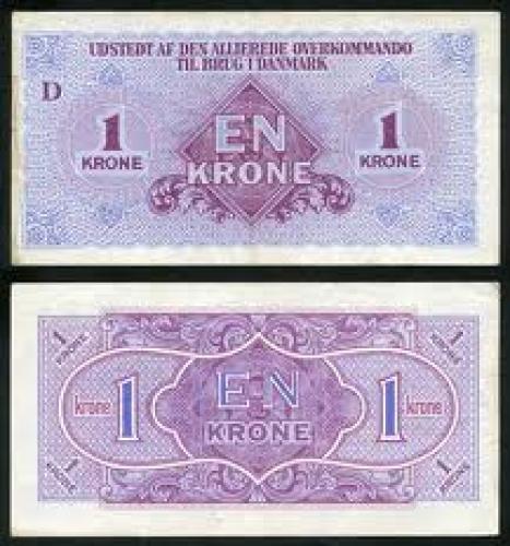 Banknotes: 1 Krone; Denmark