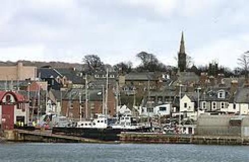 Postcard Scotland; Boats lie in dock at Arbroath Harbour, Scotland