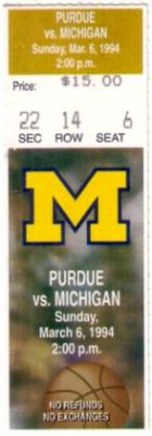 1994 Michigan vs. Purdue (Glenn Robinson) ticket stub