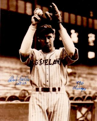 Bob Feller autographed Cleveland Indians 8x10 photo inscribed HOF 62 & 1936 Chicago