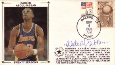 Kareem Abdul-Jabbar autographed Los Angeles Lakers 20 Seasons cachet envelope