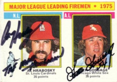 Goose Gossage & Al Hrabosky autographed 1976 Topps Leaders card