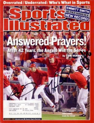 Chone Figgins Troy Percival Adam Kennedy autographed Angels 2003 World Champs Sports Illustrated