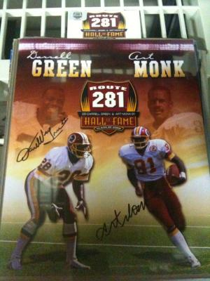 Darrell Green & Art Monk autographed Redskins 2008 Hall of Fame 8x10 photo