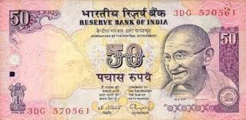 Banknotes; India 50 Rupees Banknote Obverse. The banknote is black and purple