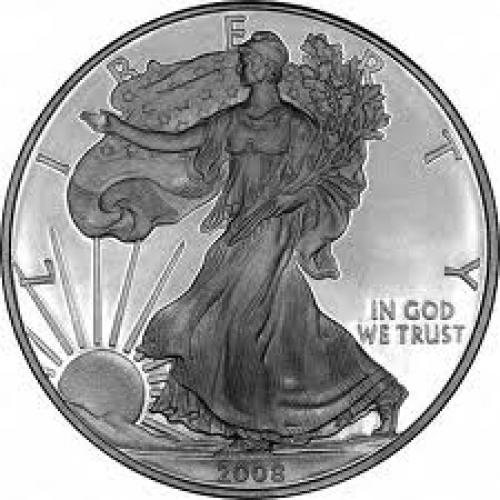 Coins; Obverse of 2008 USA 1 Dollar Silver Proof Coin