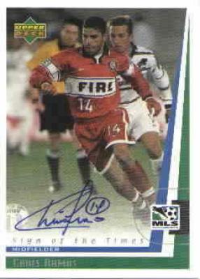 Chris Armas certified autograph 1999 MLS Chicago Fire card