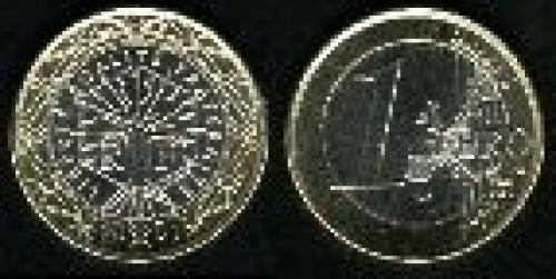1 euro; Year: 1999-2006; (km 1288); Exterior Niquel-Latón (CuZn20Ni5) Interior: 3 Capas Cuproníquel/