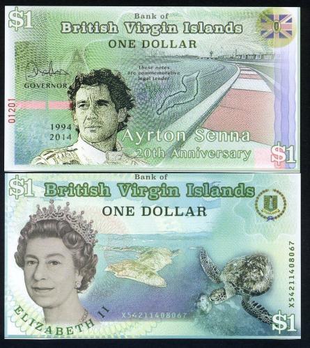 British Virgin Islands, 1 dollar, 2014 POLYMER, QEII UNC > Ayrton Senna