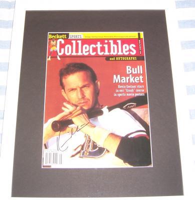 Kevin Costner autographed Bull Durham magazine cover matted & framed