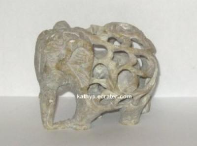 Carved Stone Elephant with Baby Inside Animal Figurine