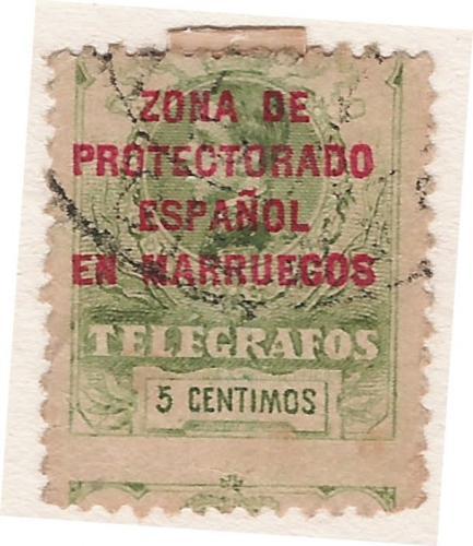 Zona DE PROTECTORADO ESPAÑOL EN MARRUECOS TELEGRAFOS 5 CENTIMOS