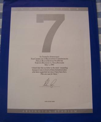 Nolan Ryan 7th No-Hitter Texas Rangers 11x14 certificate