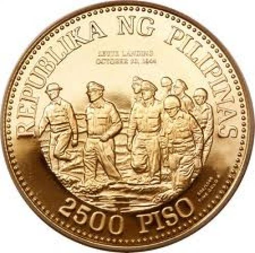2500 Philippine peso gold coin; Gen.  Mac Arthur (back )
