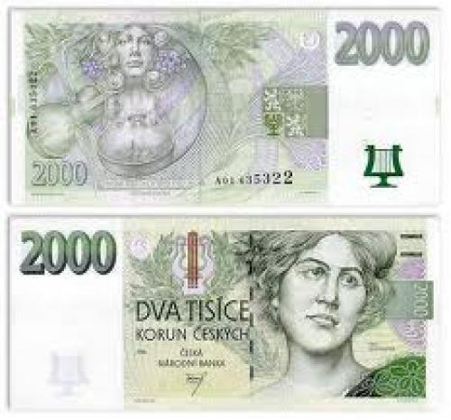 Banknotes; Czechia - Czech Korun Currency Bank Notes; 2000 Korun