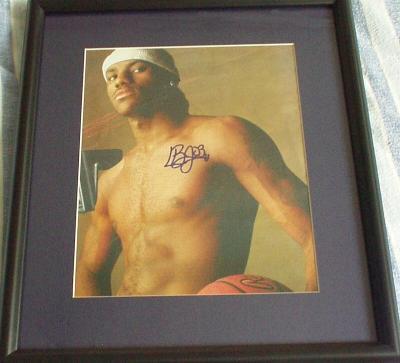 LeBron James autographed shirtless photo matted & framed