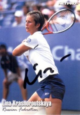 Lina Krasnoroutskaya autographed 2003 Netpro tennis card