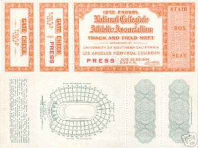 1934 NCAA Track and Field Championships ticket PRISTINE