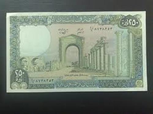 Banknotes; Lebanon..250 lira 1988
